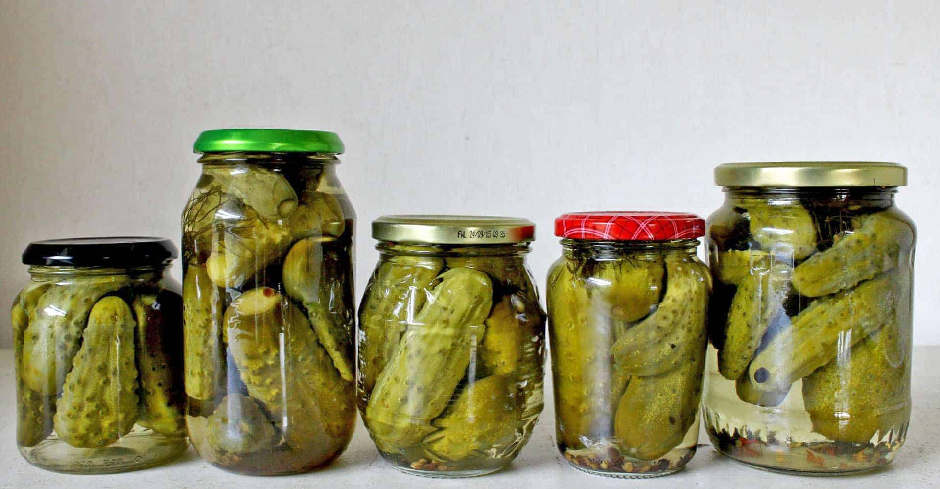 Homemade crunchy, tangy bottled gherkins