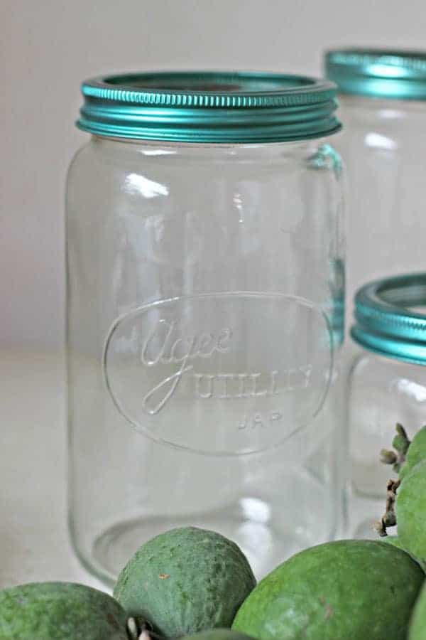 Empty Agee jar with feijoas