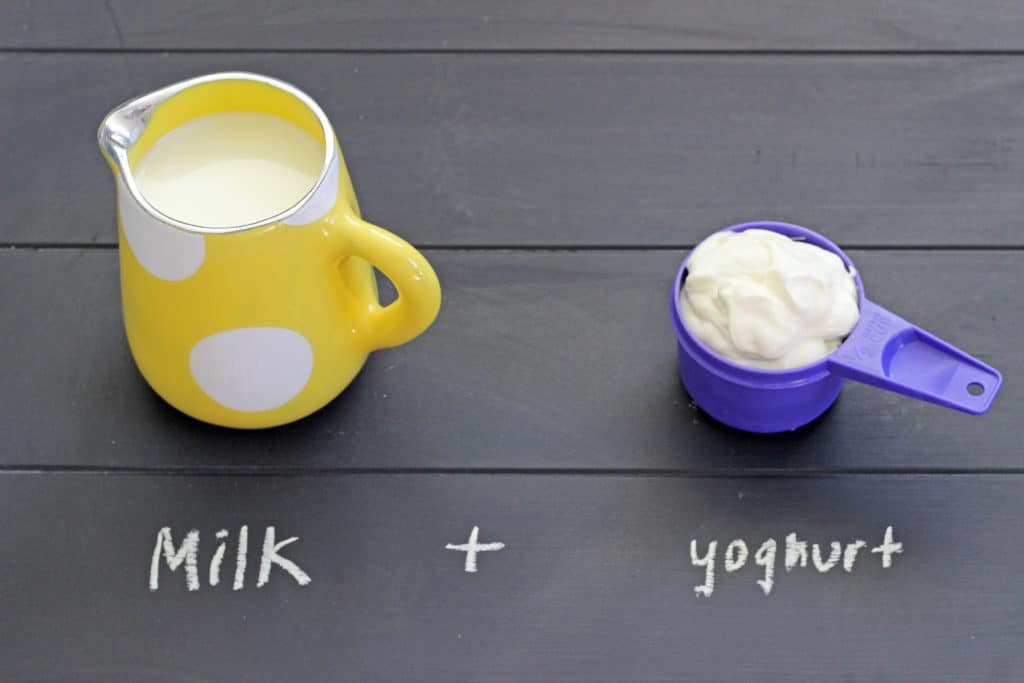 Milk + yoghurt = buttermilk!