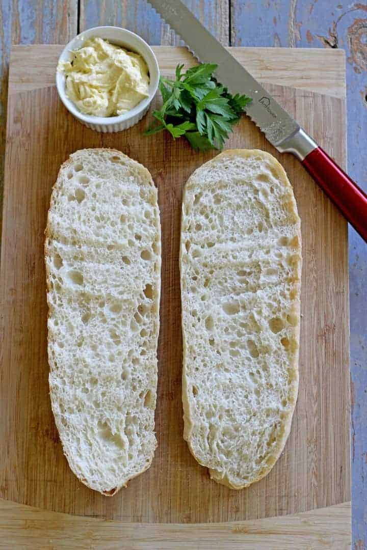 Quick & easy ciabatta garlic bread with homemade garlic butter
