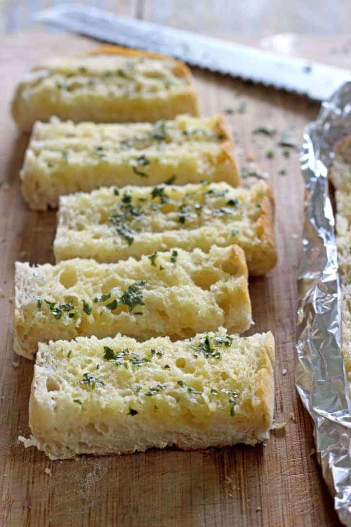 Quick & easy ciabatta garlic bread with homemade garlic butter