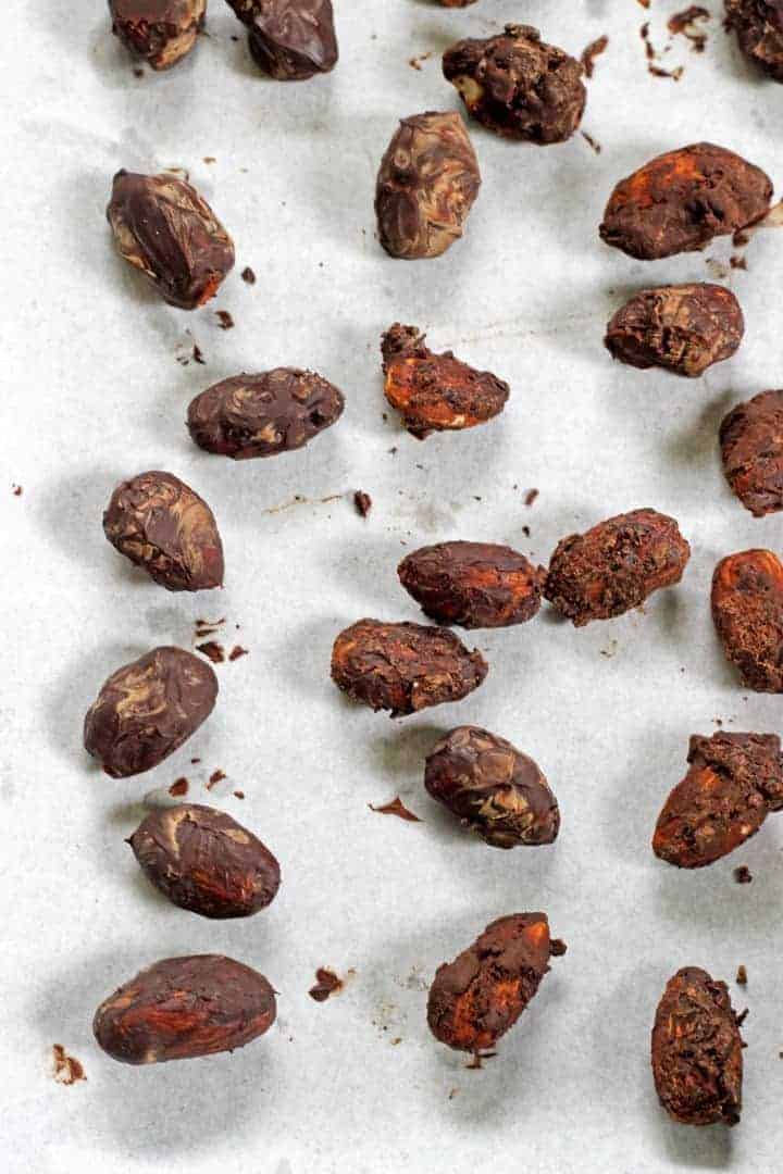 Dark chocolate coated almonds...the perfect holiday treat!