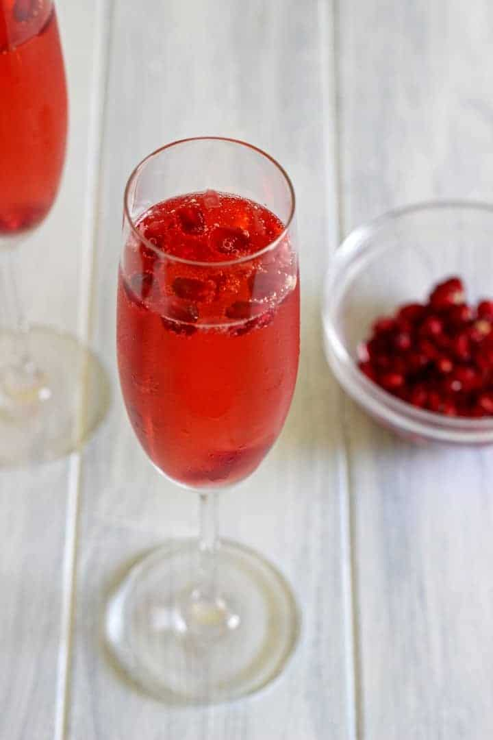 The perfect champagne cocktail with pomegranate...party time!