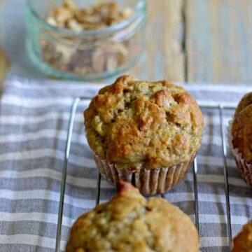 Sweet banana muffins filled with crunchy walnuts...the perfect morning tea treat!