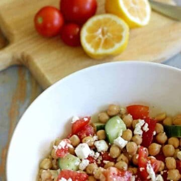 Smashed chickpea, tomato, cucumber & feta salad...the perfect throw together lunch for busy days.