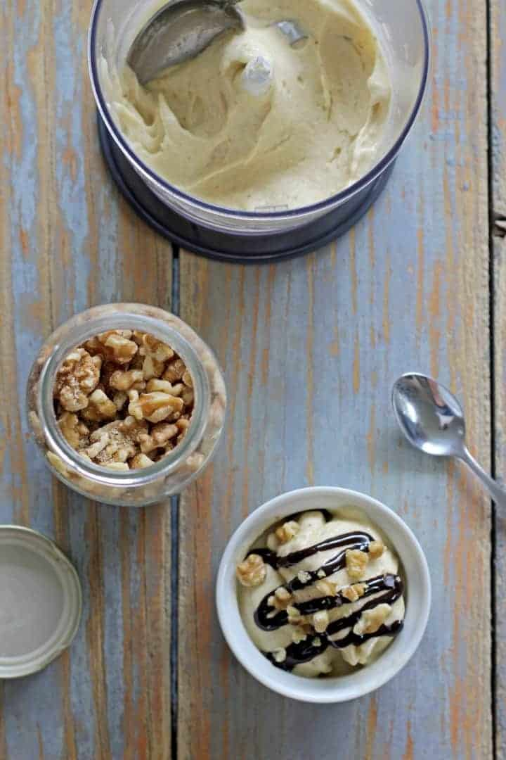 Frozen bananas are all that it takes to make this creamy but healthy banana ice cream! | thekiwicountrygirl.com