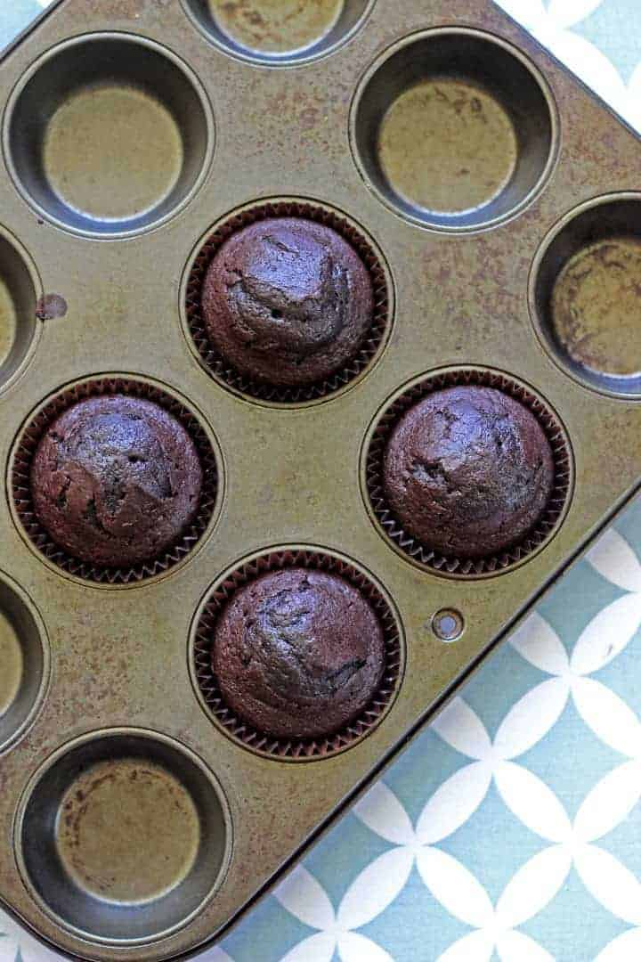 Small batch chocolate cupcakes - for those times you really feel like a chocolate cupcake but don't need 12!
