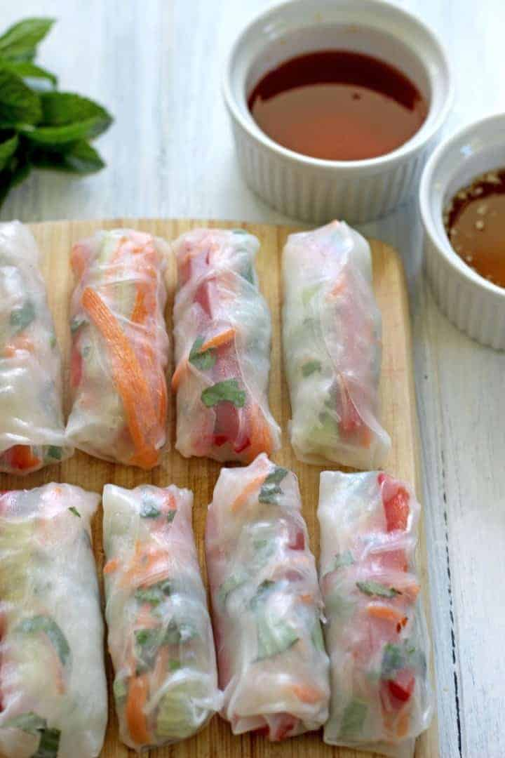 Vietnamese Rice Paper Rolls + Dipping Sauces | The Kiwi Country Girl