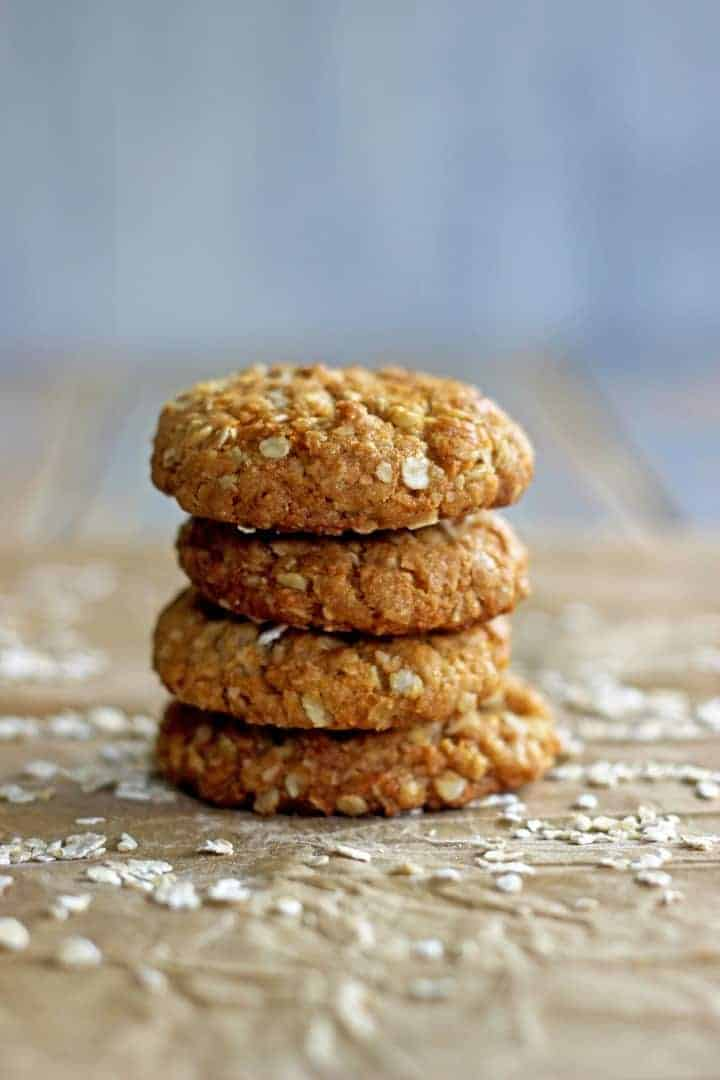 Chewy, sweet, golden oaty Anzac biscuits - a celebration of our soldiers and a home baked Kiwi classic!