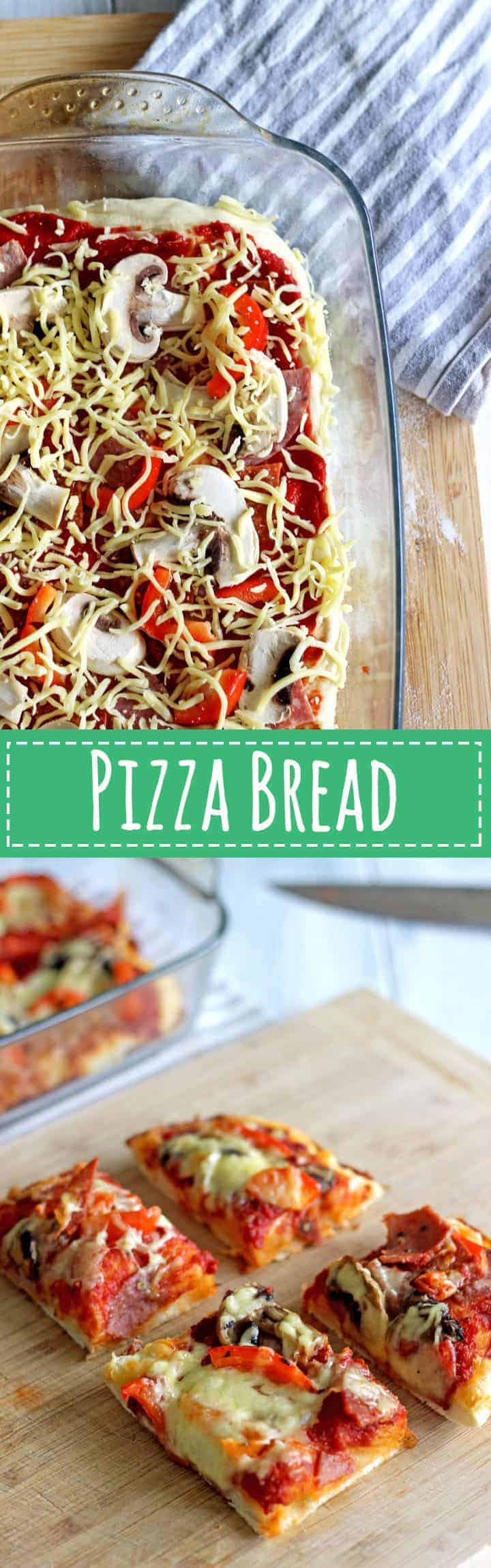 Thick and chewy pizza bread made with homemade pizza dough and all your favourite toppings!