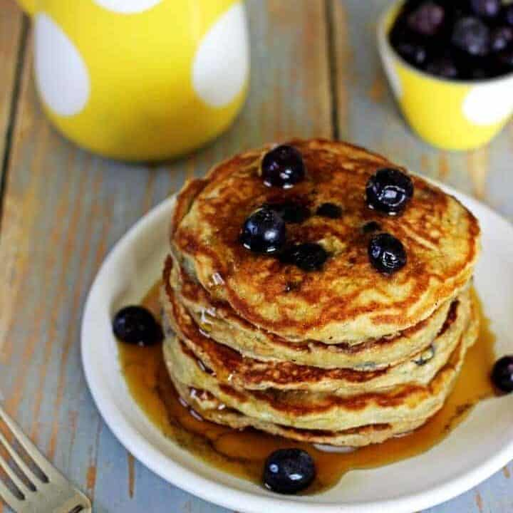 Best. Ever! Blueberry Buttermilk Pancakes.Soft, fluffy, full of blueberries and drizzled with maple syrup - the perfect breakfast!   Recipe at thekiwicountrygirl.com