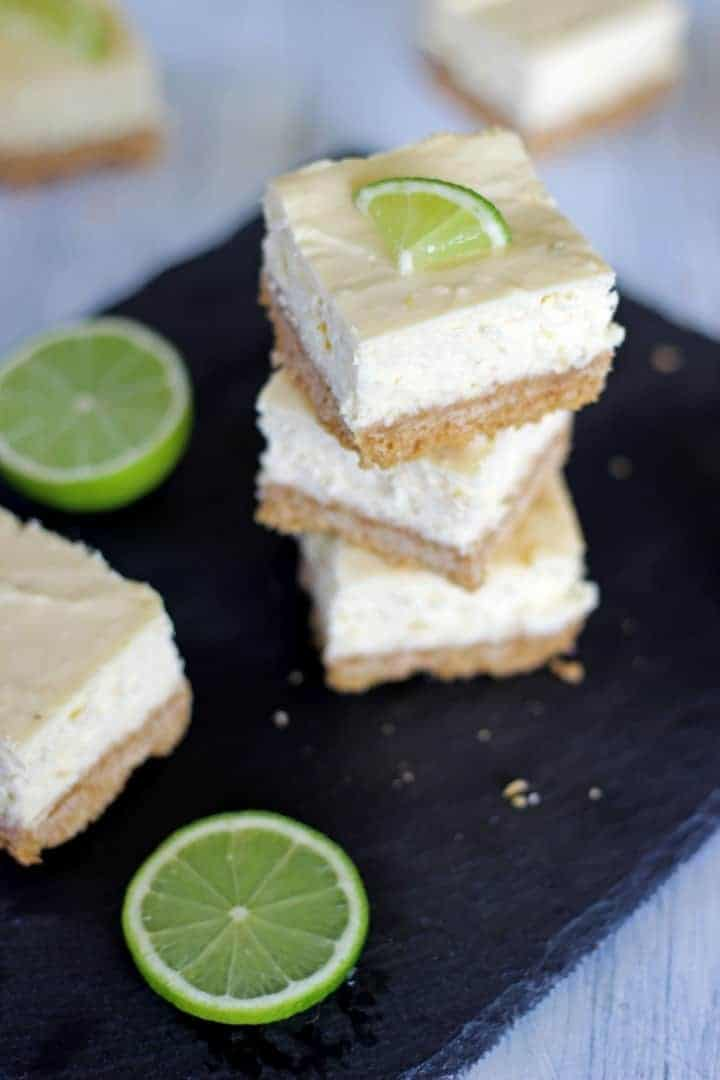 Key lime pie cheesecake bars inspired by actual key lime pie - the're the perfect combination of sweet, tangy, summery & delicious!   Recipe at thekiwicountrygirl.com