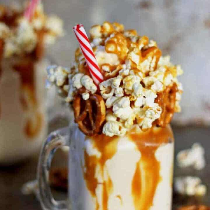 Salted Caramel Kettle Corn Epic Milkshake - the milkshake to end all milkshakes!   Recipe at thekiwicountrygirl.com