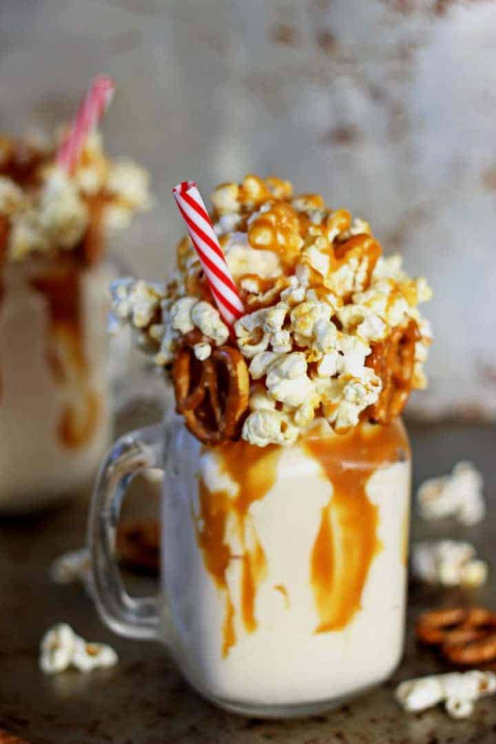 Salted Caramel Kettle Corn Epic Milkshake - the milkshake to end all milkshakes! | Recipe at thekiwicountrygirl.com