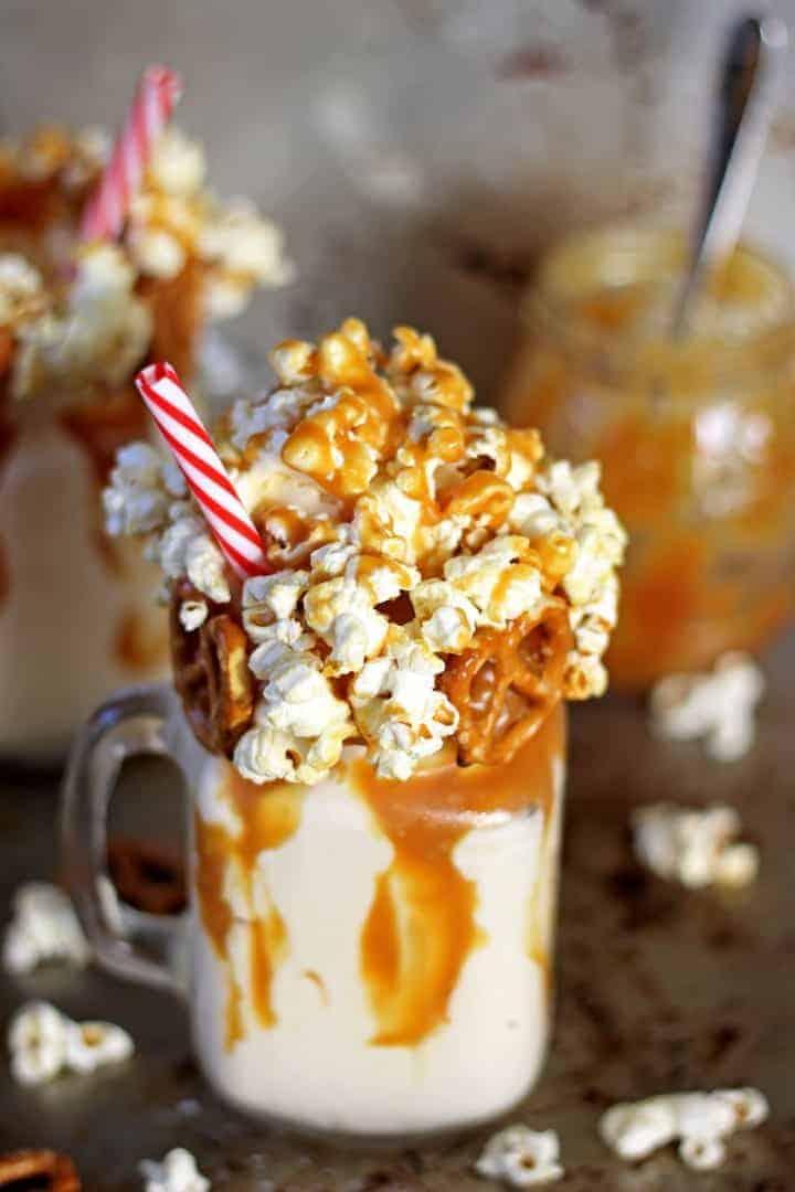 Salted Caramel Kettle Corn Epic Milkshake - the milkshake to end all milkshakes! | Recipe at thekiwicountrygirl.com