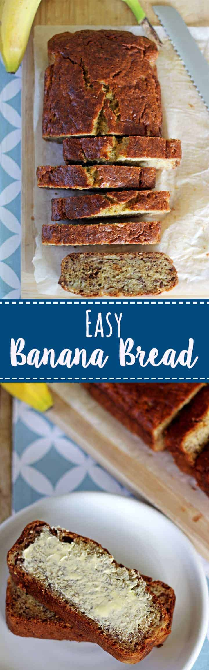 Classic easy banana bread recipe made in 1 bowl, and is ready to eat in 1 hour! | recipe at thekiwicountrygirl.com #quickbread #bananabread #baking #easyrecipe #sweetbread #banana #loaf