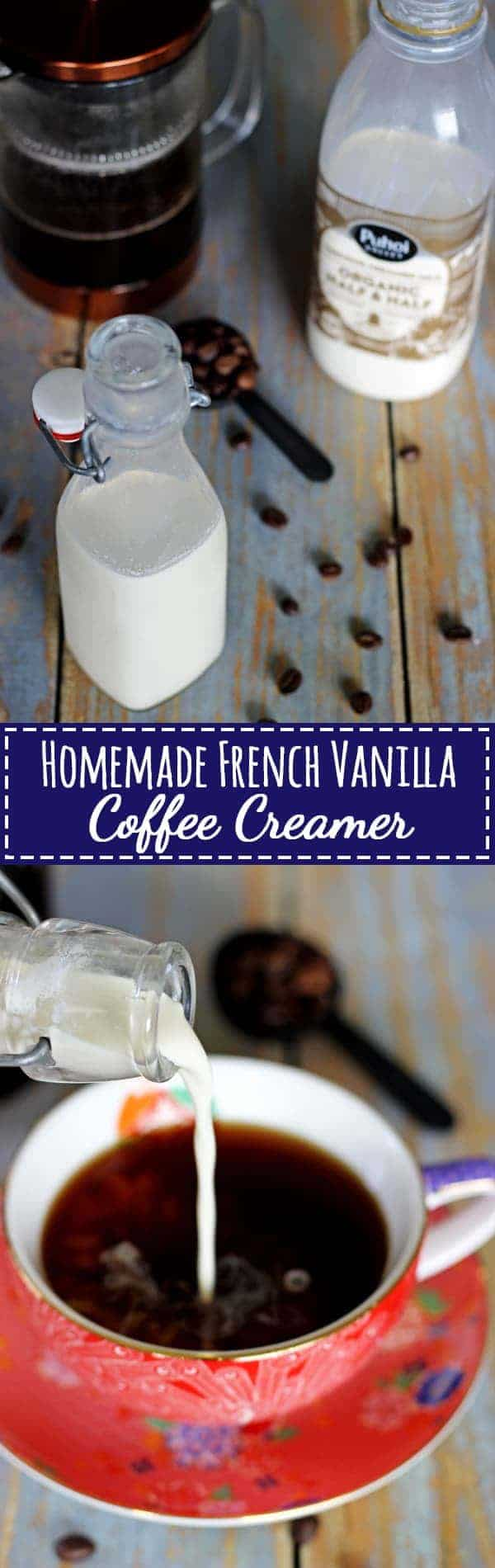 Homemade French Vanilla Coffee Creamer - the best flavour of coffee creamer just got an easy homemade twist - 3 ingredients, 2 minutes - it's the most delicious cup of coffee ever! | thekiwicountrygirl.com