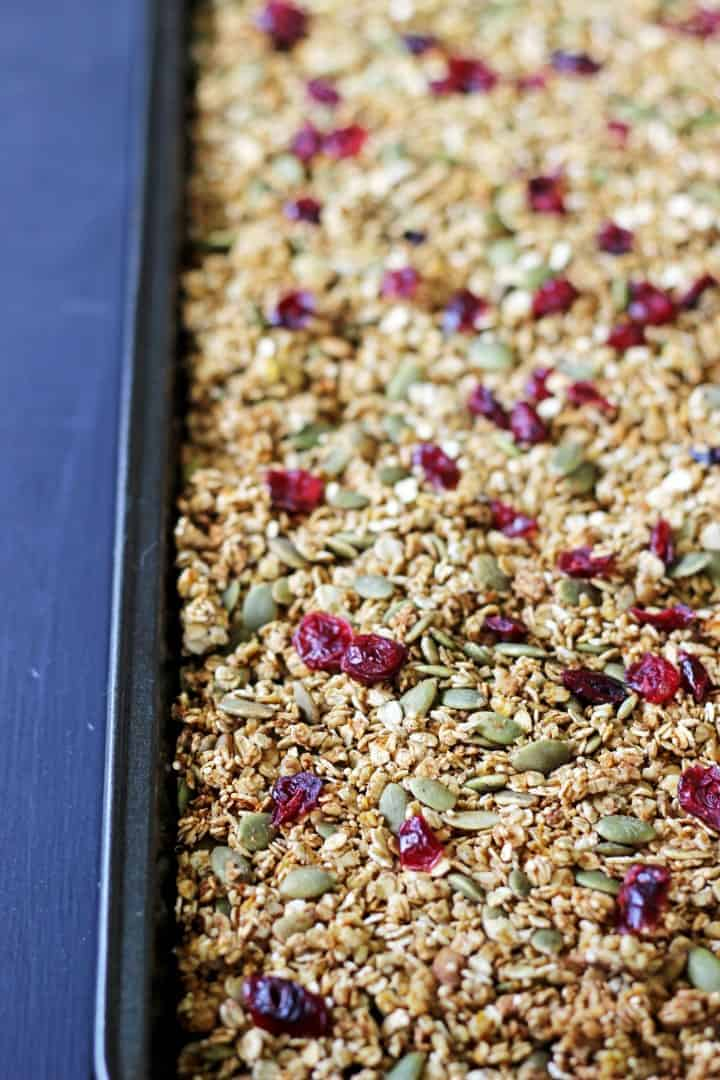 Sweet, spicy and full of extra goodies this Pumpkin Spice Granola is autumn in a bowl! | thekiwicountrygirl.com