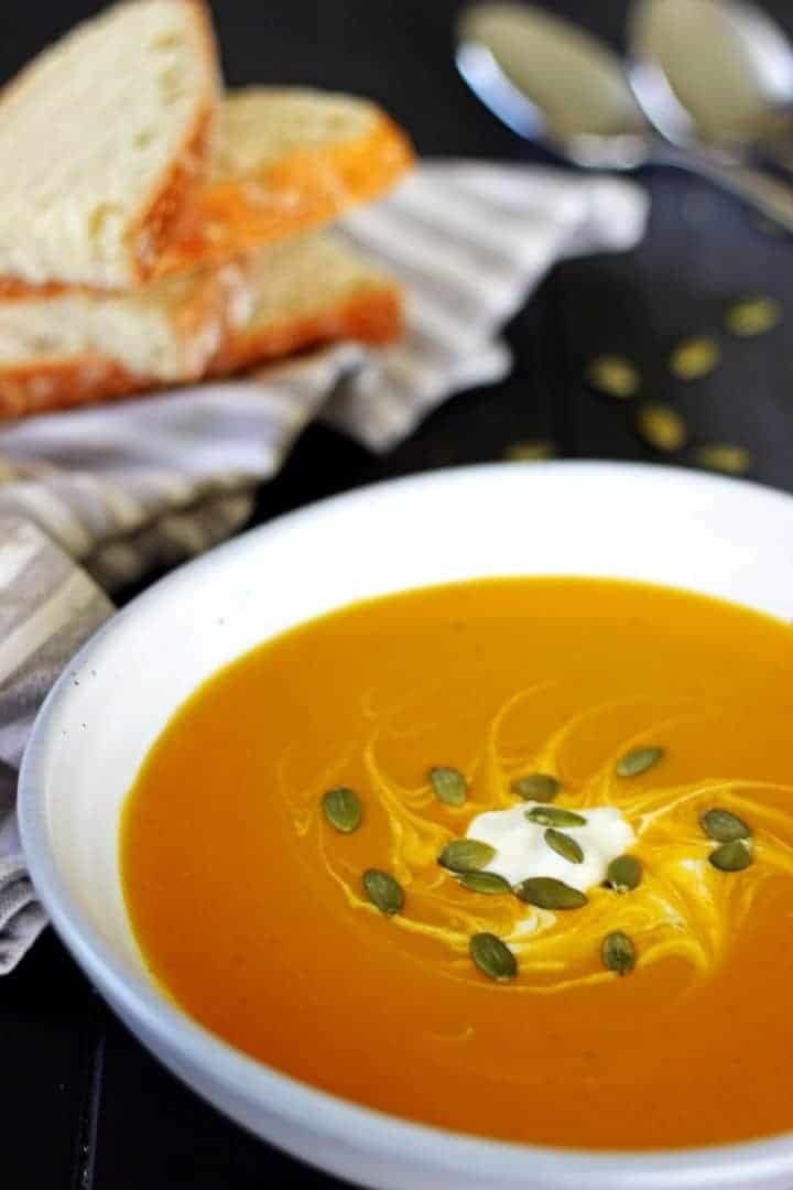 Classic pumpkin soup with a Thai inspired twist - Thai Spiced Pumpkin Soup! | thekiwicountrygirl.com