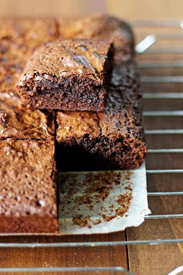 The ultimate classic fudgy brownie recipe - double chocolate, super fudgy, crackly on top and ready in 40 minutes using only 1 pot! | thekiwicountrygirl.com