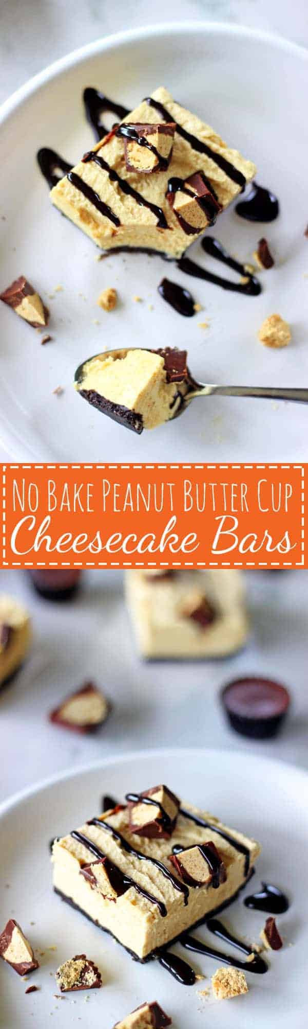 My all time favourite, easy to make dessert - no bake peanut butter cup cheesecake bars. The perfect make ahead dessert for anyone who loves peanut butter! | thekiwicountrygirl.com