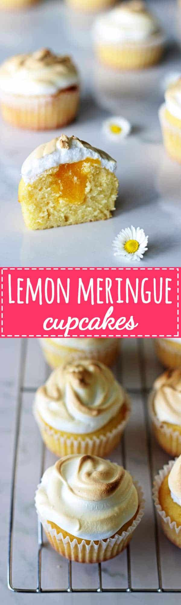 Lemon Meringue Cupcakes - light lemon cupcakes, filled with lemon curd & topped with meringue. They're the perfect spring dessert | thekiwicountrygirl.com