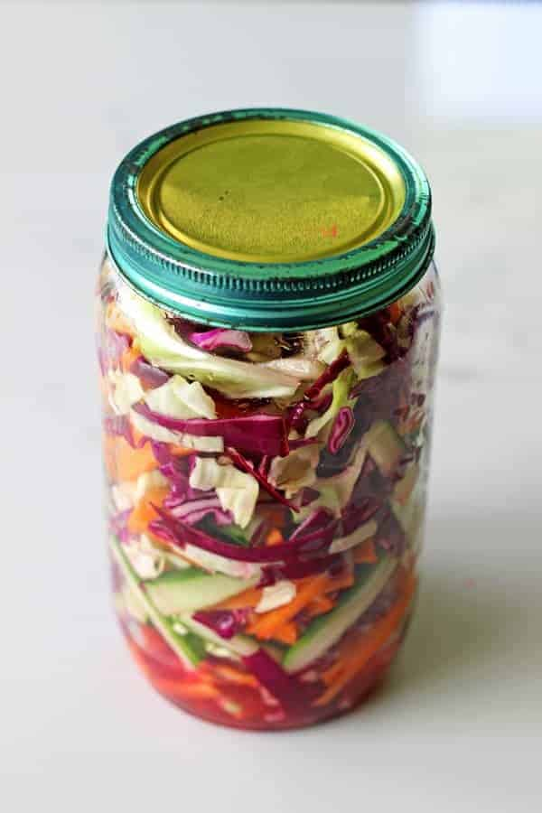 This recipe for quick pickled veges is the easiest, most versatile side that is the perfect accompaniment for anything from tacos to sandwiches! | thekiwicountrygirl.com