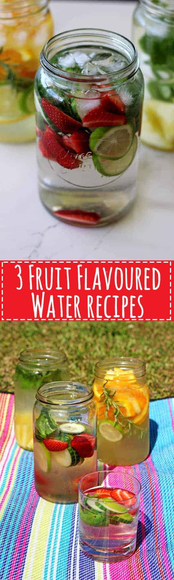 3 Fruit Flavoured Water Recipes - the perfect way to stay hydrated this summer with quick, easy and delicious fruit and herb flavoured water! | thekiwicountrygirl.com