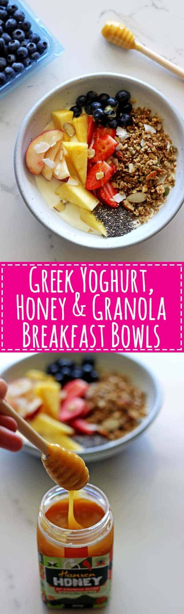 My all time favourite breakfact - Greek yoghurt, honey & granola breakfast bowls with all sorts of extra goodies....it's the only way to start the day! | thekiwicountrygirl.com