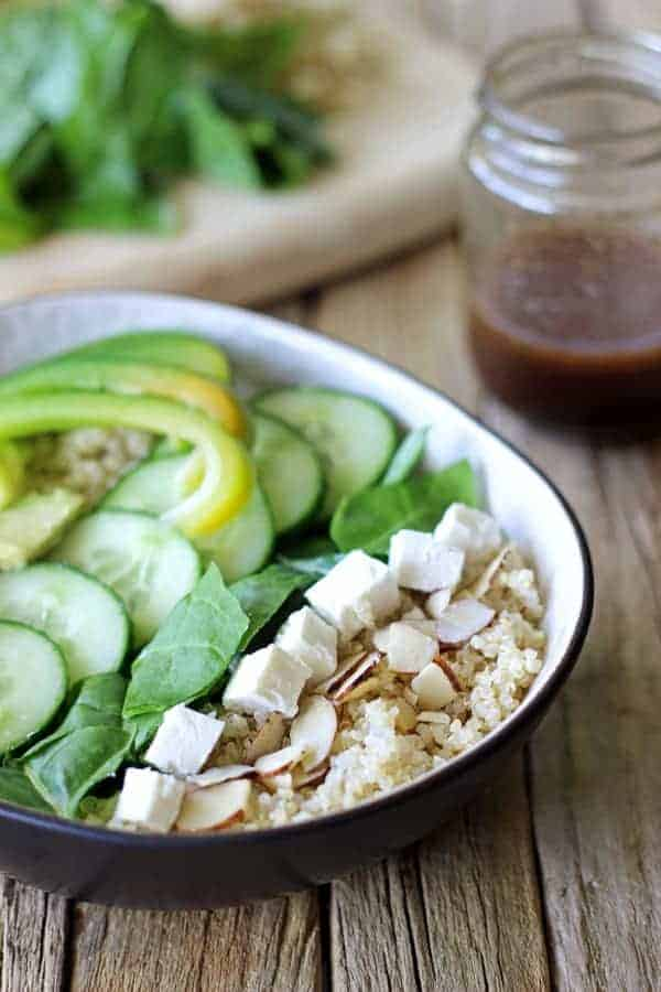 Super Green Summer Salad with Quinoa with a quick throw together lemon balsamic vinaigrette - the perfect mixture of healthy & delicious! | thekiwicountrygirl.com