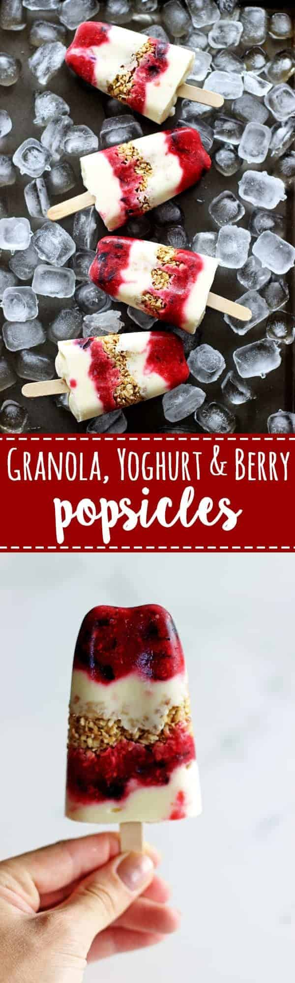 The perfect summer breakfast on the run or a snack for anytime is granola, yoghurt & berry popsicles. Healthy, easy to make and pretty! | thekiwicountrygirl.com