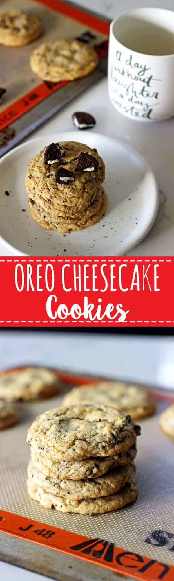 The perfect combination of cookies and cheesecake, rolled into a super quick recipe - Oreo Cheesecake Cookies with delicious cream cheese & chunks of Oreos! | thekiwicountrygirl.com
