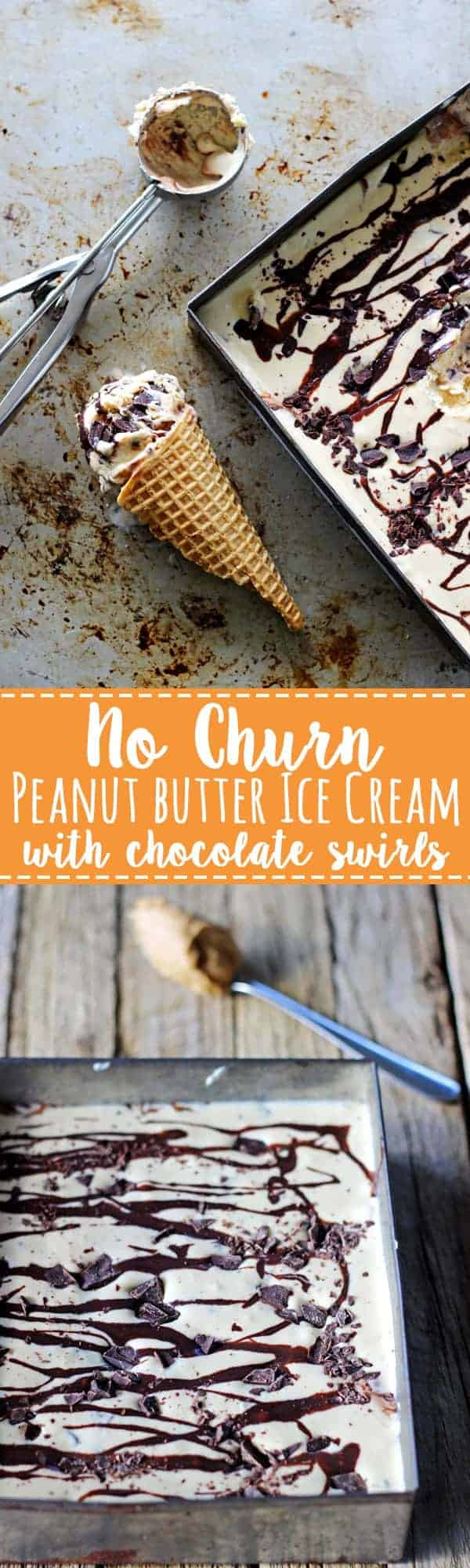 The best no churn peanut butter ice cream with chocolate. Quick, easy no churn peanut butter ice cream with dark chocolate chunks & a chocolate swirl! | thekiwicountrygirl.com