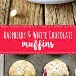 Raspberry & white chocolate muffins - my favourite quick & easy muffin recipe with delicious raspberries & white chocolate in every bite! | thekiwicountrygirl.com