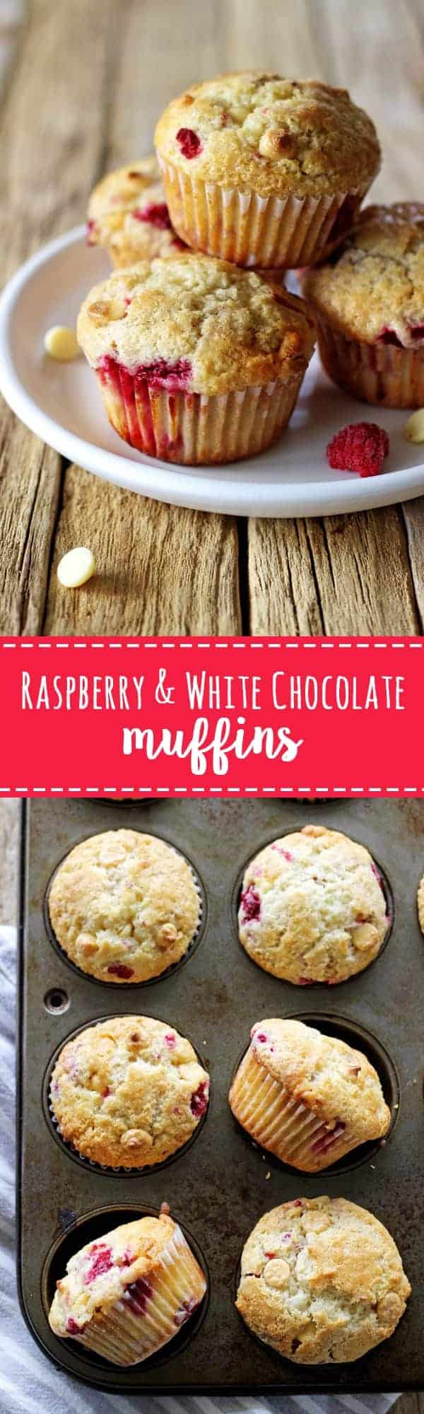 Raspberry & white chocolate muffins - my favourite quick & easy muffin recipe with delicious raspberries & white chocolate in every bite! | thekiwicountrygirl.com