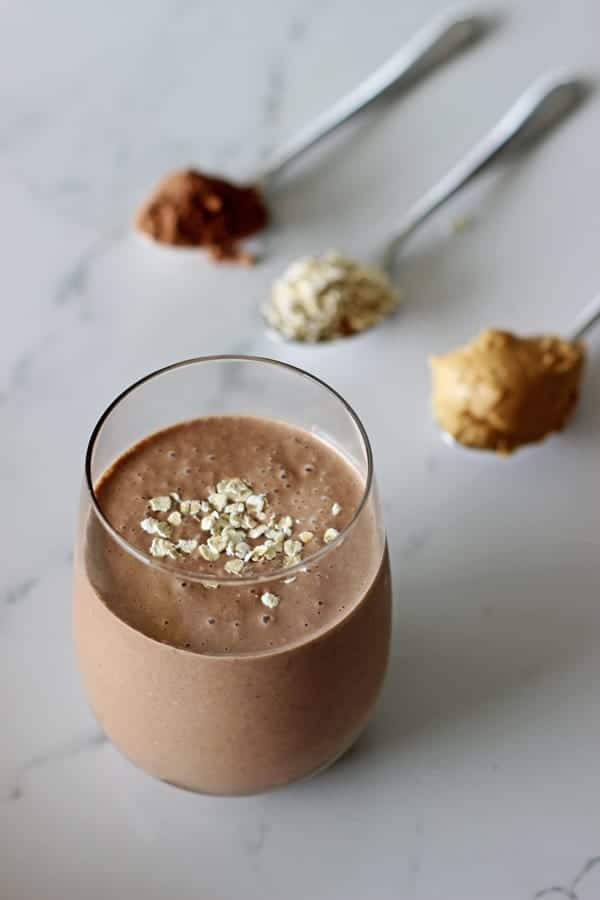 Peanut Butter Banana and Chocolate Breakfast Smoothie
