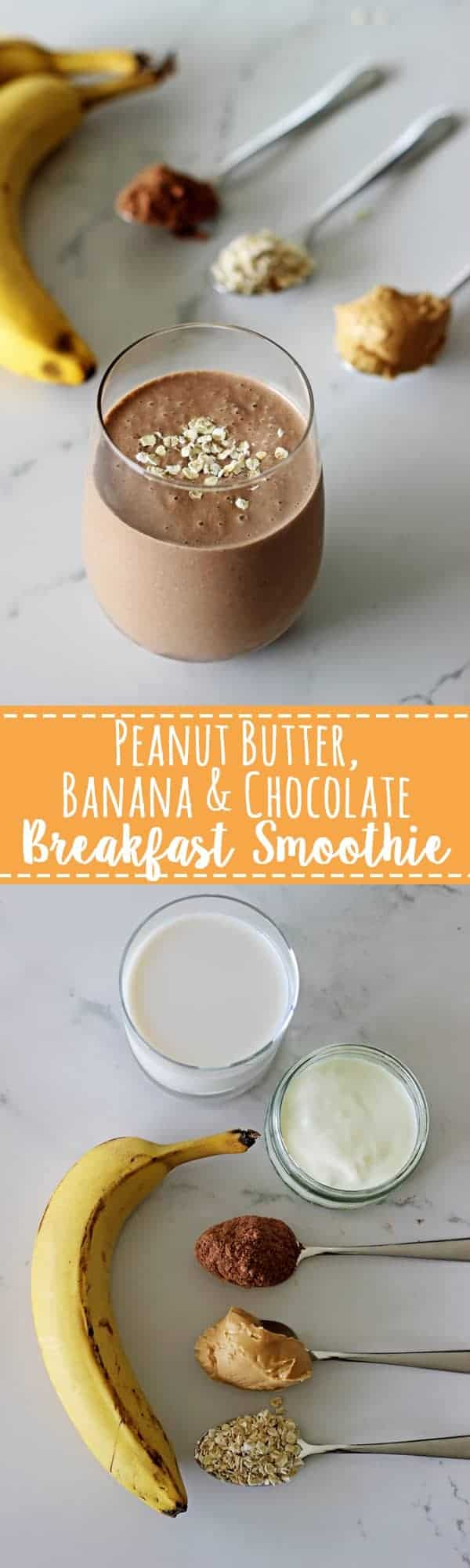 Peanut butter banana and chocolate breakfast smoothie! Creamy and delicious but totally healthy! The perfect breakfast, snack or guilt free dessert!   thekiwicountrygirl.com