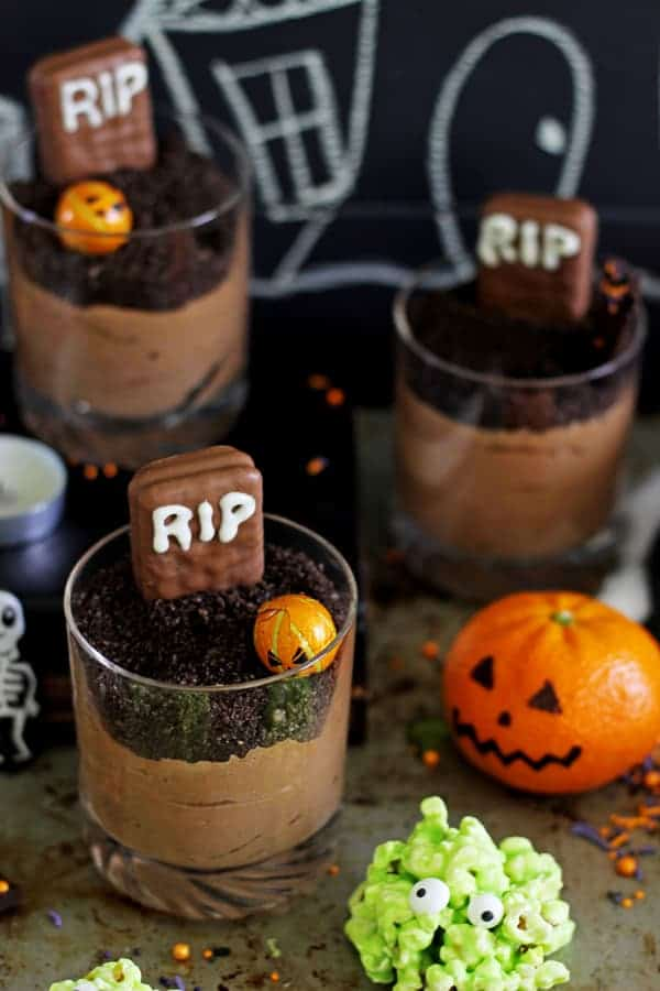 Chocolate mousse graveyard cups for Halloween