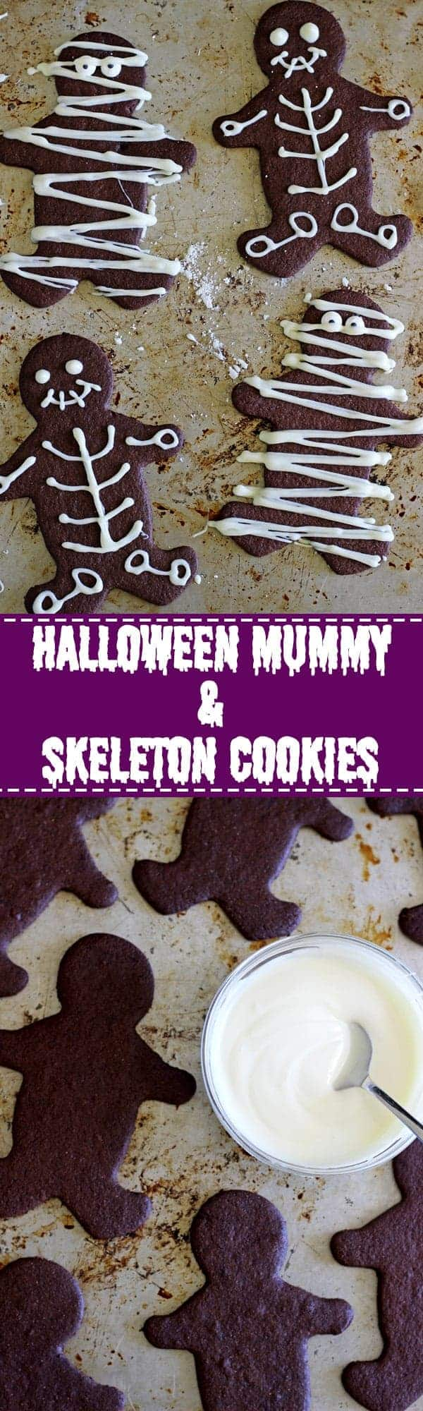 Chocolate Halloween Mummy & Skeleton Cookies - perfect for Halloween parties, trick or treaters and for making with kids! | thekiwicountrygirl.com