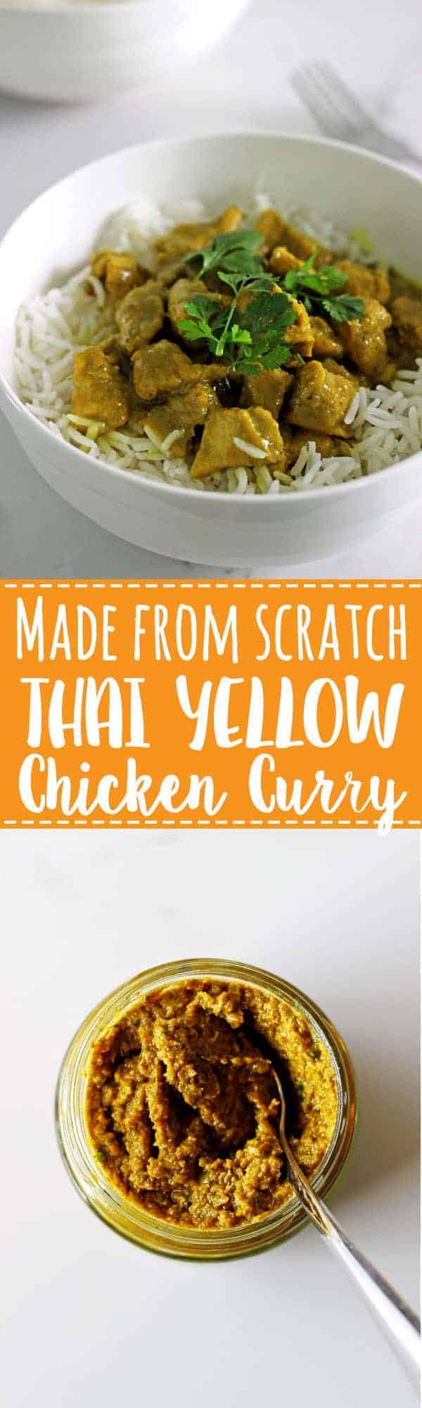 Completely from scratch (including the homemade curry paste) and on the table in under an hour Thai yellow chicken curry! | thekiwicountrygirl.com