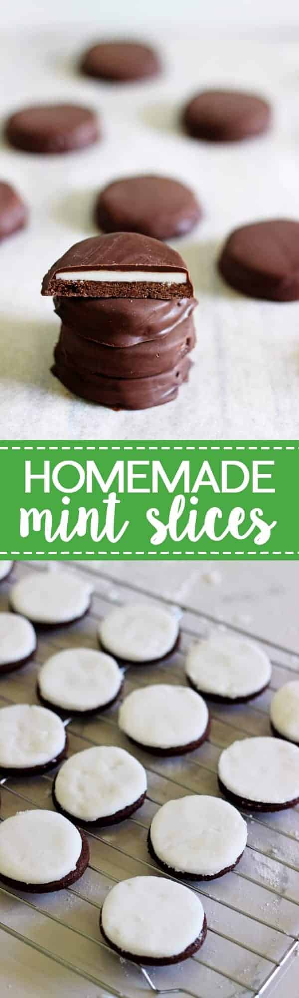 Homemade Mint Slices - New Zealand's favourite biscuit made at home! Crispy chocolate biscuits topped with peppermint fondant and coated in chocolate. | thekiwicountrygirl.com