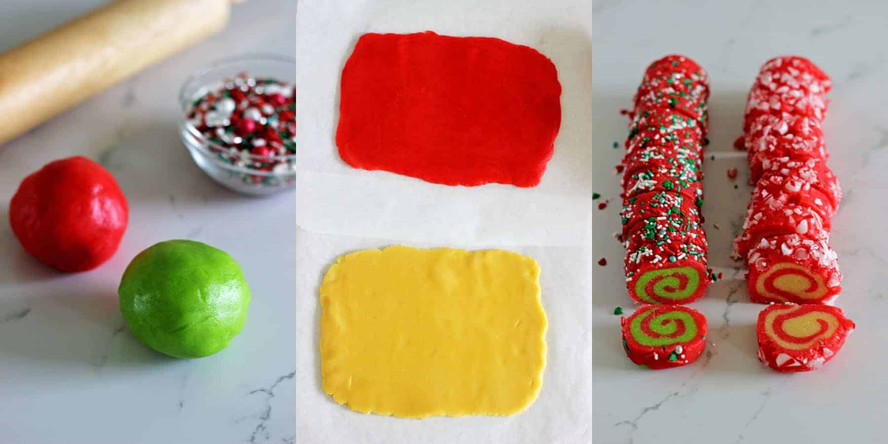 1 basic dough = 4 slice and bake Christmas cookie recipes! Christmas pinwheels, candy cane pinwheels, Christmas Spice, Orange, Cranberry & Pistachio! | thekiwicountrygirl.com