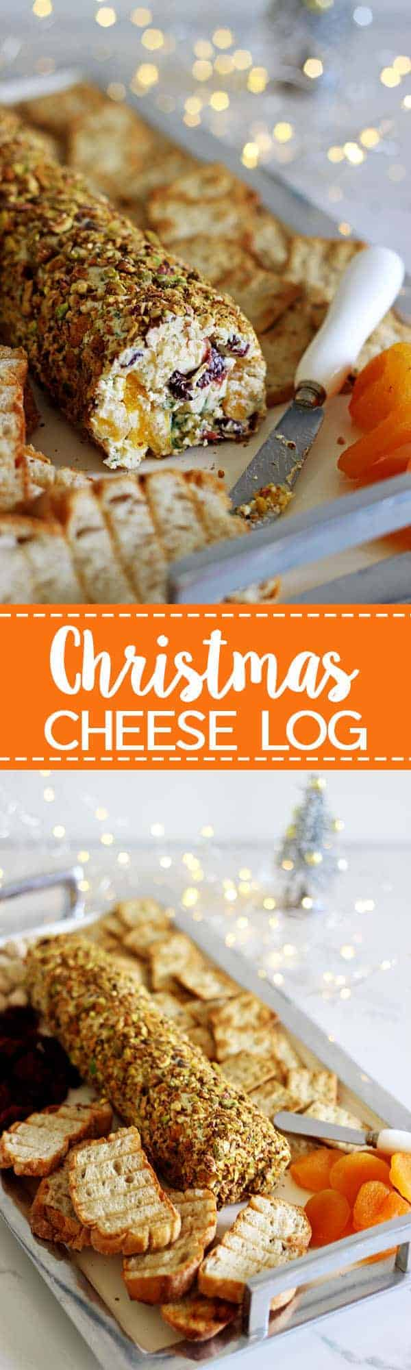 Christmas cheese log - the perfect quick, easy & delicious Christmas appetizer to feed a crowd! Make in advance and serve with crackers and toasted bread | thekiwicountrygirl.com