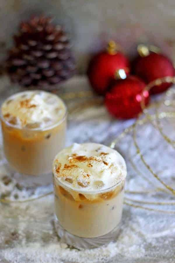 Santa's Little Nightcap - the perfect Christmas cocktail to leave out for Santa! Cold brew coffee, Baileys & vodka topped with whipped cream & cinnamon!   thekiwicountrygirl.com