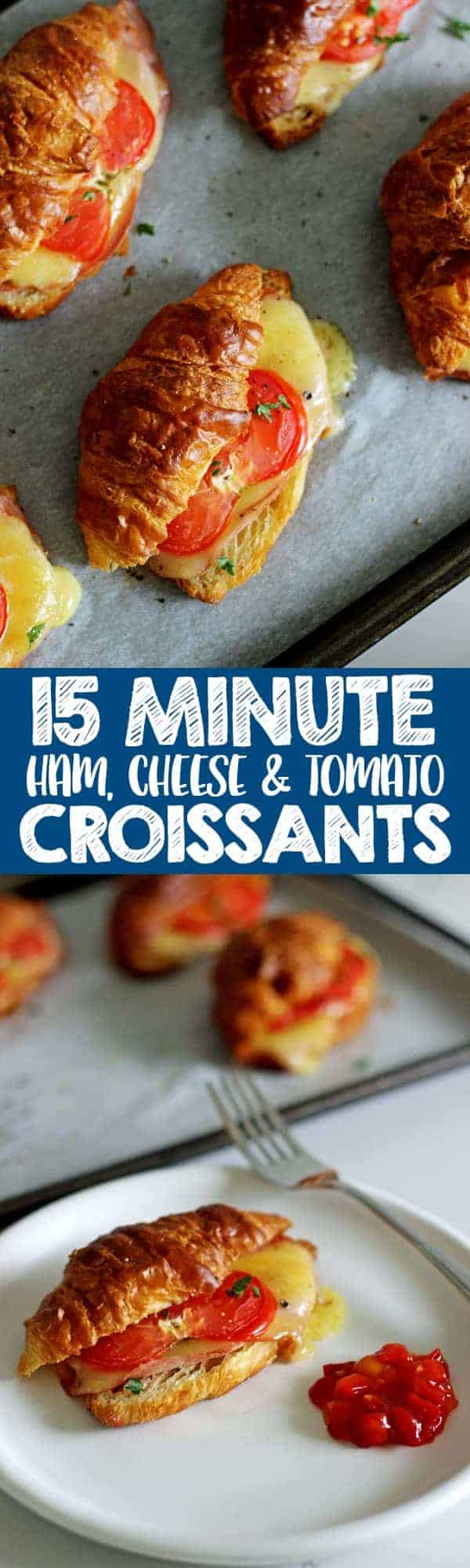 The easiest and tastiest 15 Minute Ham, Cheese & Tomato Croissants - they come together and are ready to eat in only 15 minutes! Perfect for Easter brunch or just any old weekend breakfast! #easter #easterbrunch #easymeal #15minutemeal #breakfast #croissants   thekiwicountrygirl.com