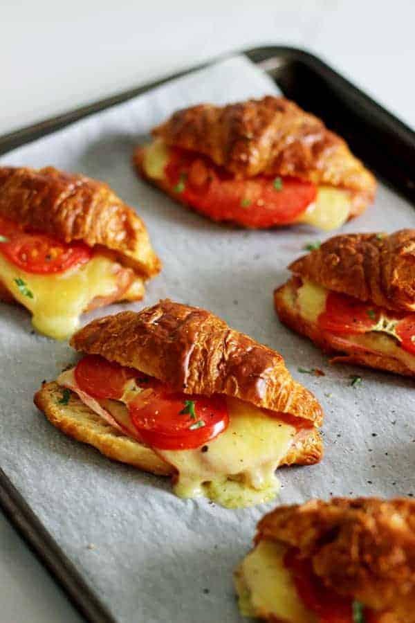 15 Minute Ham, Cheese & Tomato Croissants