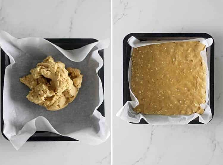 Side by side image of feijoa crumble slice base ready to go in the oven on white marble background