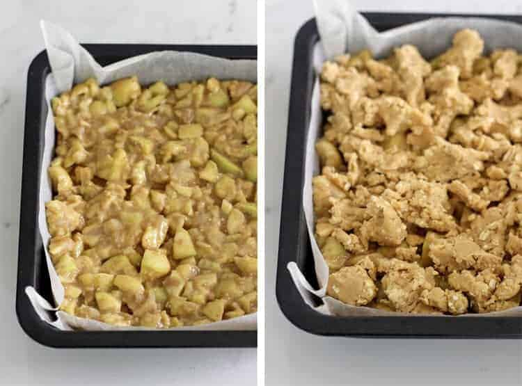 Side by side image of feijoa crumble slice ready to go in the oven on white marble background