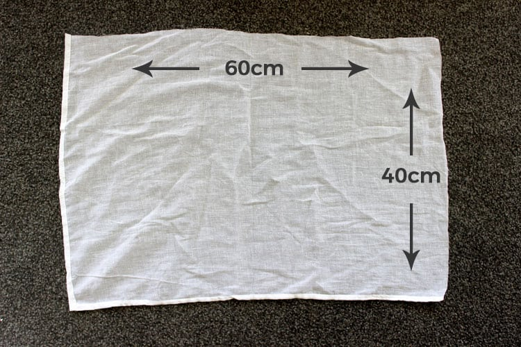 White muslin with measurements
