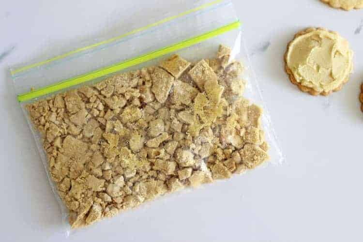 Snaplock bag of crushed hokey pokey pieces